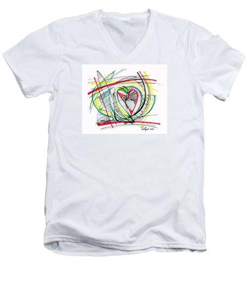 2010 Abstract Drawing Eighteen Men's V-Neck T-Shirt