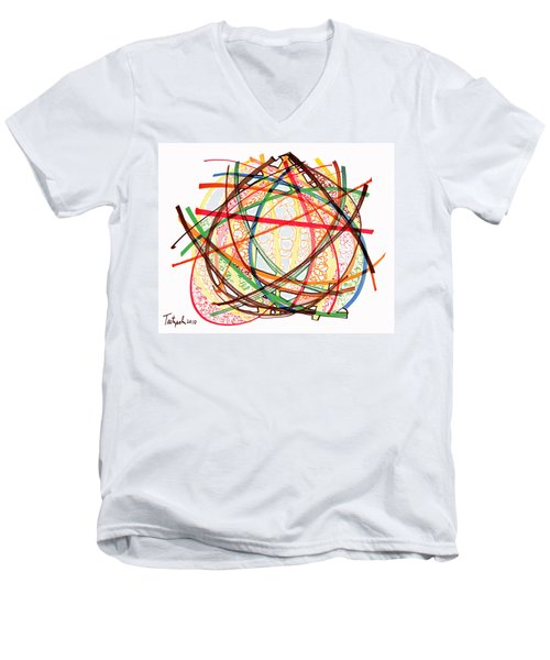 2010 Abstract Drawing Fifteen Men's V-Neck T-Shirt by Lynne Taetzsch