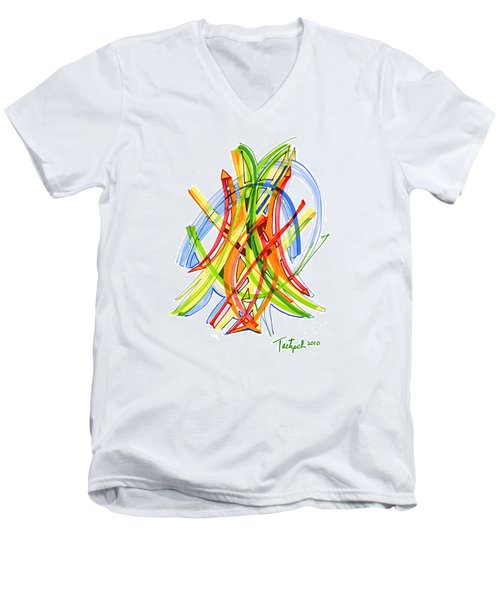 2010 Abstract Drawing Seven Men's V-Neck T-Shirt by Lynne Taetzsch