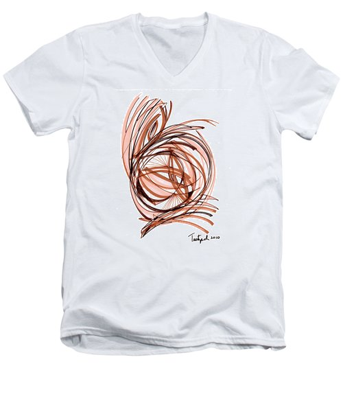 2010 Abstract Drawing Six Men's V-Neck T-Shirt by Lynne Taetzsch