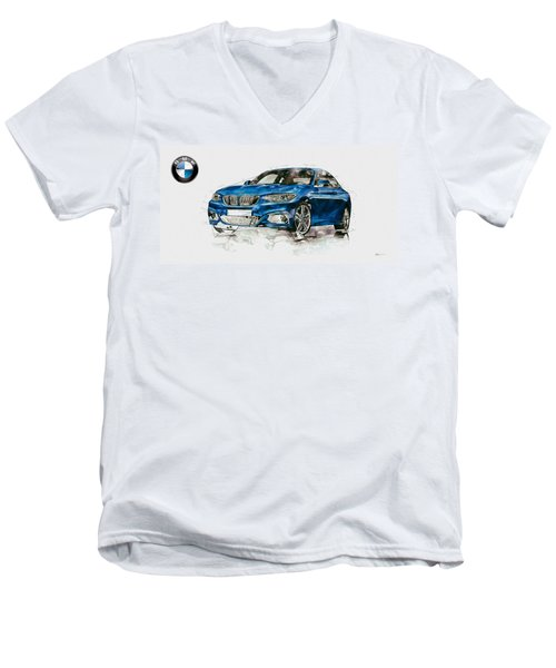 2014 B M W 2 Series Coupe With 3d Badge Men's V-Neck T-Shirt by Serge Averbukh