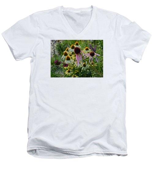 2015 Summer At The Garden Coneflowers Men's V-Neck T-Shirt