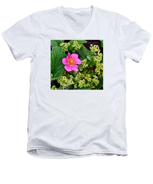 2015 Summer's Eve At The Garden Lipstick Strawberry Men's V-Neck T-Shirt