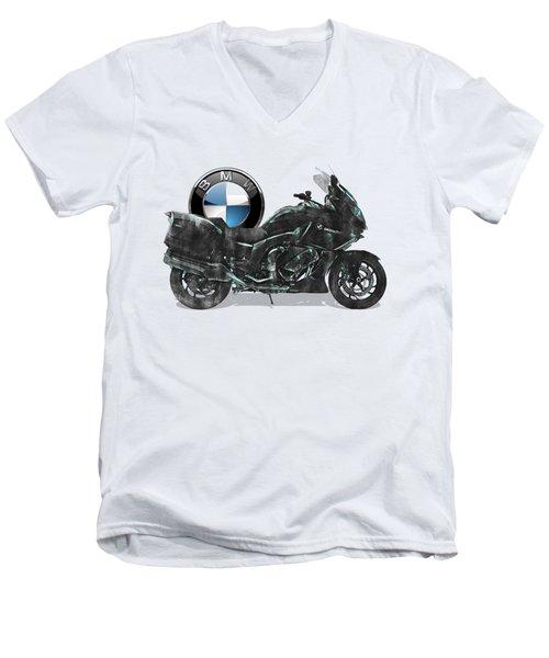 Men's V-Neck T-Shirt featuring the digital art 2016 Bmw-k1600gt Motorcycle With 3d Badge Over Vintage Blueprint  by Serge Averbukh