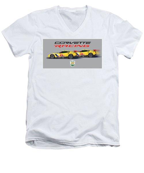2016 Daytona 24 Hour Corvette Poster Men's V-Neck T-Shirt by Alain Jamar