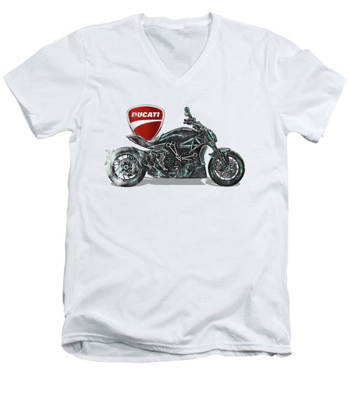 Men's V-Neck T-Shirt featuring the digital art 2017 Ducati Xdiavel-s Motorcycle With 3d Badge Over Vintage Blueprint  by Serge Averbukh
