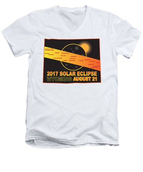 2017 Solar Eclipse Across Wyoming Cities Map Illustration Men's V-Neck T-Shirt