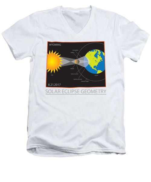 2017 Solar Eclipse Geometry Wyoming State Map Illustration Men's V-Neck T-Shirt