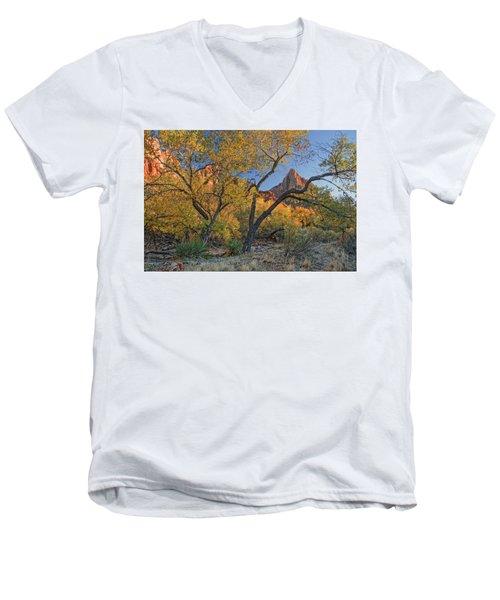 Zion National Park Men's V-Neck T-Shirt by Utah Images