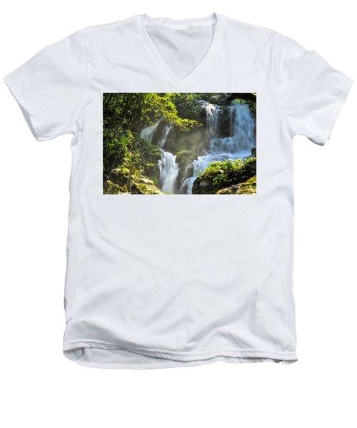 Waterfall Scenery Men's V-Neck T-Shirt