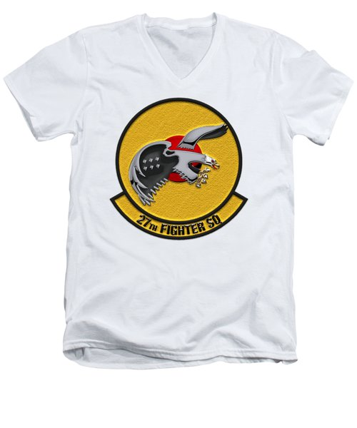 Men's V-Neck T-Shirt featuring the digital art 27th Fighter Squadron - 27 Fs Patch Over White Leather by Serge Averbukh