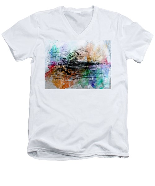 Men's V-Neck T-Shirt featuring the painting 2h Abstract Expressionism Digital Painting by Ricardos Creations