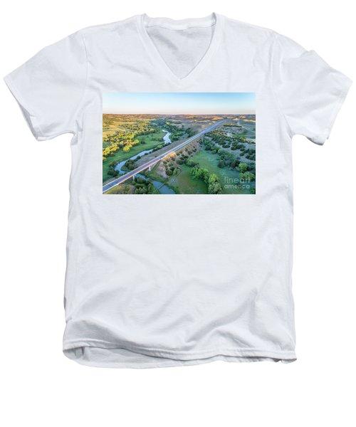 aerial view of Dismal River in Nebraska Men's V-Neck T-Shirt