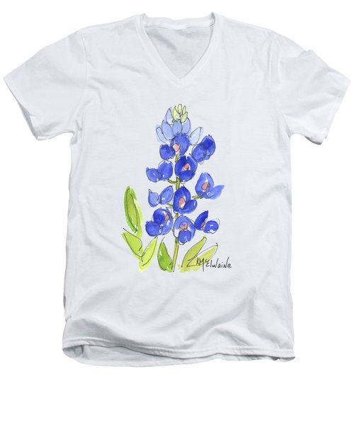 Bluebonnet Men's V-Neck T-Shirt by Kathleen McElwaine