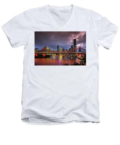 Brisbane City Skyline After Dark Men's V-Neck T-Shirt