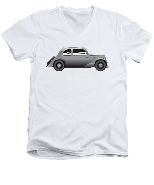 Men's V-Neck T-Shirt featuring the digital art Coupe - Vintage Model Of Car by Michal Boubin