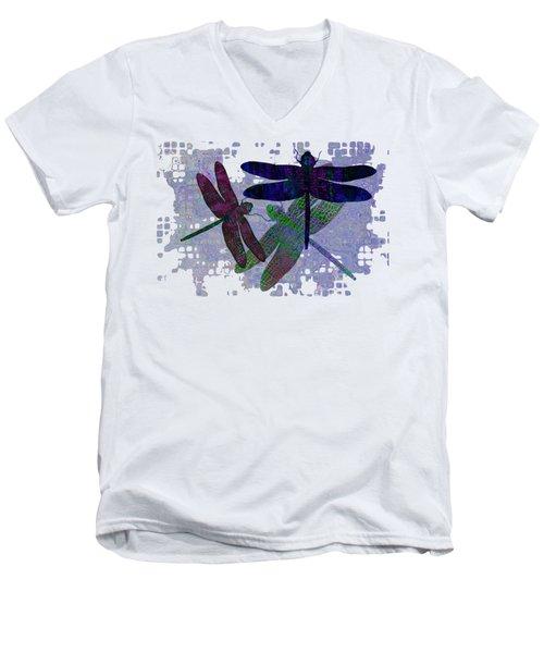 3 Dragonfly Men's V-Neck T-Shirt by Jack Zulli