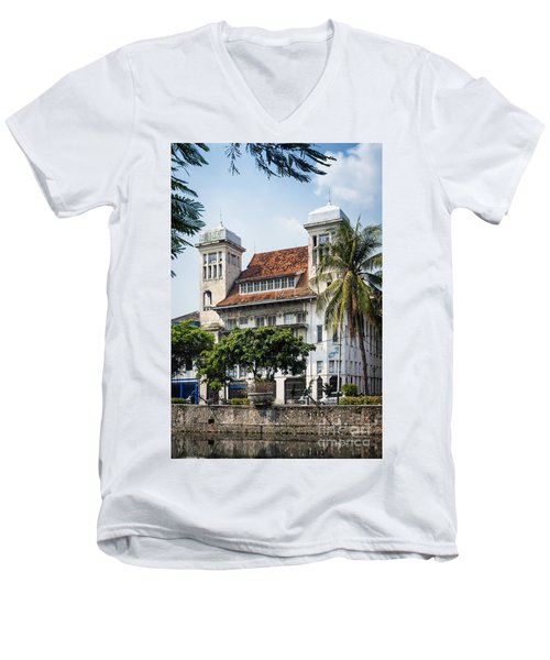 Dutch Colonial Buildings In Old Town Of Jakarta Indonesia Men's V-Neck T-Shirt