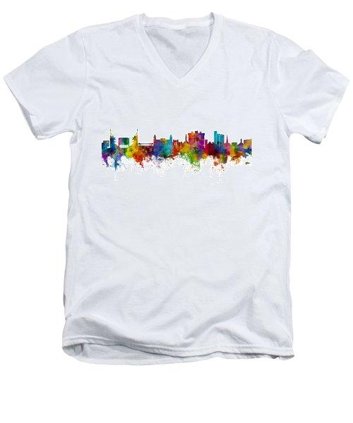 Men's V-Neck T-Shirt featuring the digital art Fayetteville Arkansas Skyline by Michael Tompsett