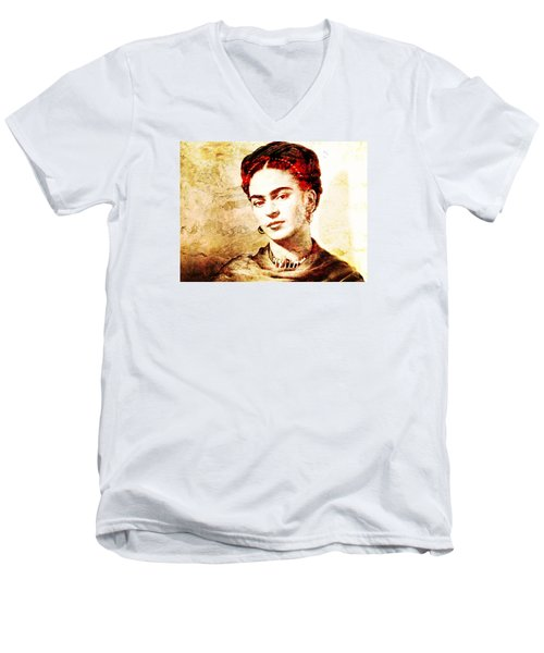 Frida Men's V-Neck T-Shirt by J- J- Espinoza