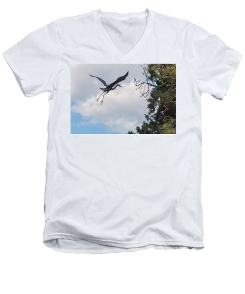 Great Blue Heron Men's V-Neck T-Shirt by Keith Boone