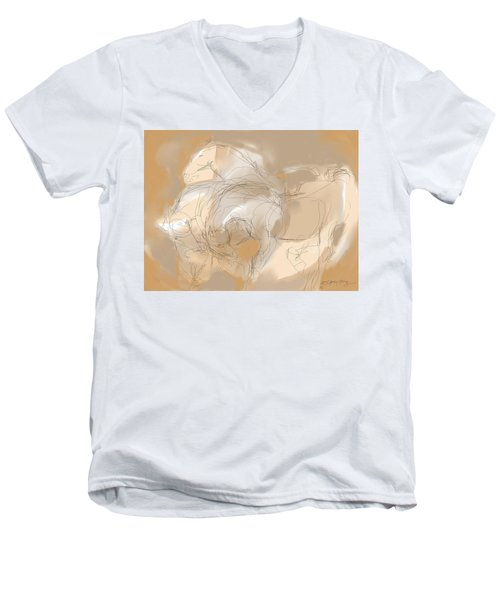 3 Horses Men's V-Neck T-Shirt by Mary Armstrong