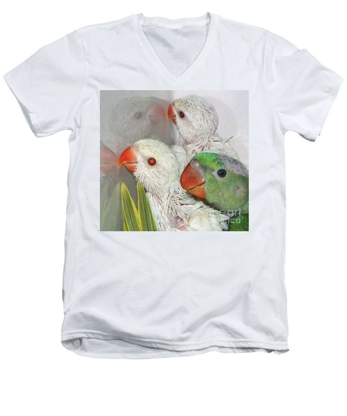Men's V-Neck T-Shirt featuring the photograph 3 Is Company 4 Is A Crowd by Debbie Stahre