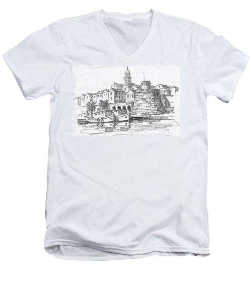 Korcula Croatia Men's V-Neck T-Shirt by Joseph Hendrix