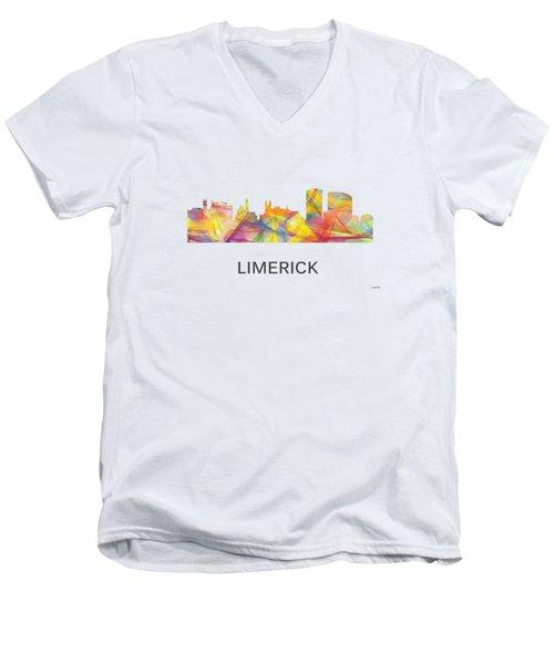 Limerick Ireland Skyline Men's V-Neck T-Shirt by Marlene Watson