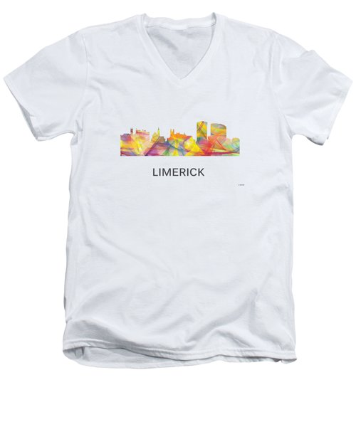 Limerick Ireland Skyline Men's V-Neck T-Shirt