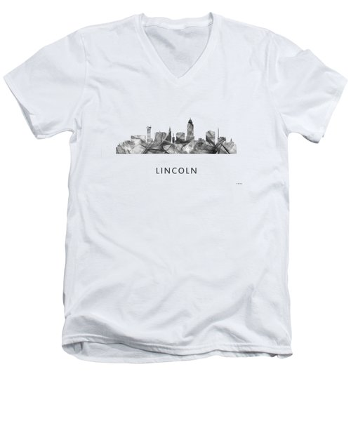 Lincoln Nebraska Skyline Men's V-Neck T-Shirt