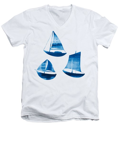 Men's V-Neck T-Shirt featuring the painting 3 Little Blue Sailing Boats by Frank Tschakert