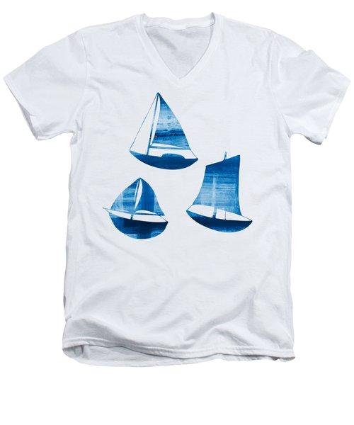 3 Little Blue Sailing Boats Men's V-Neck T-Shirt