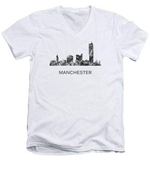 Manchester England Skyline Men's V-Neck T-Shirt
