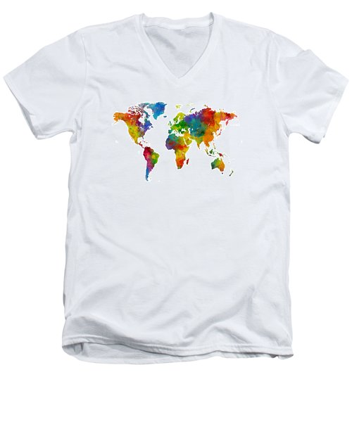 Map Of The World Map Watercolor Men's V-Neck T-Shirt by Michael Tompsett