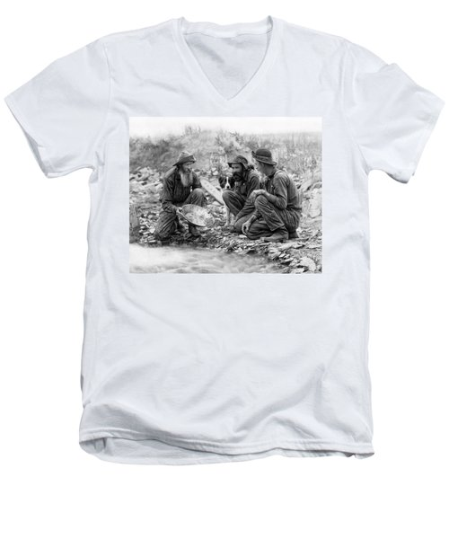 3 Men And A Dog Panning For Gold C. 1889 Men's V-Neck T-Shirt by Daniel Hagerman