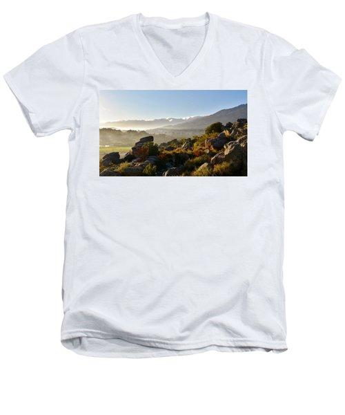 morning fog over Ceres Men's V-Neck T-Shirt
