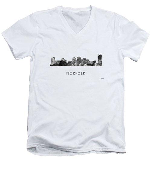 Norfolk Virginia Skyline Men's V-Neck T-Shirt by Marlene Watson