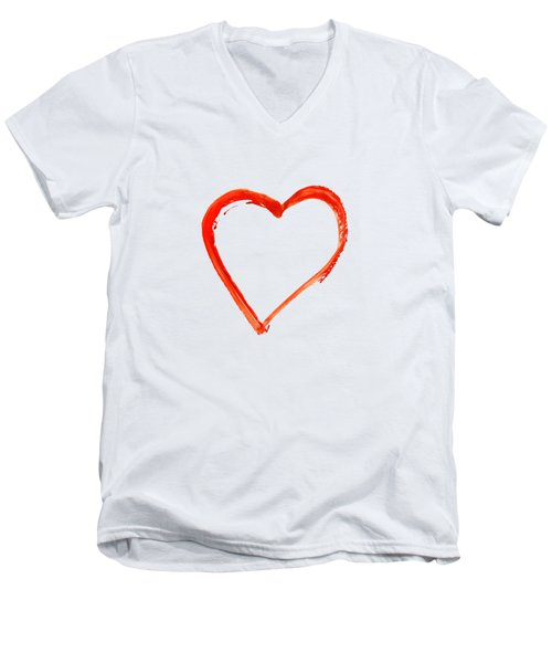 Men's V-Neck T-Shirt featuring the drawing Painted Heart - Symbol Of Love by Michal Boubin