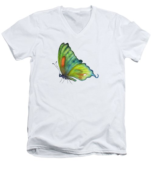 3 Perched Orange Spot Butterfly Men's V-Neck T-Shirt