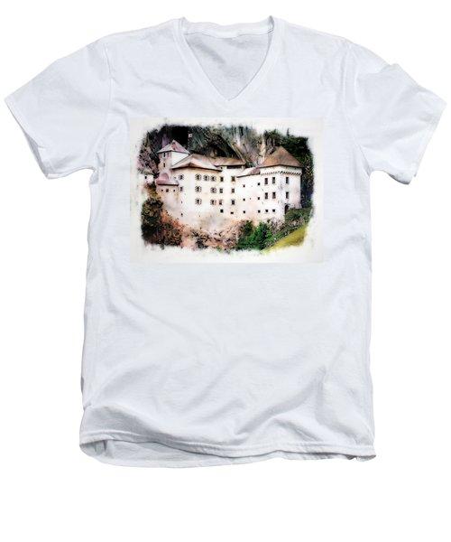 Predjama Castle, Predjama Slovenia Men's V-Neck T-Shirt by Joseph Hendrix