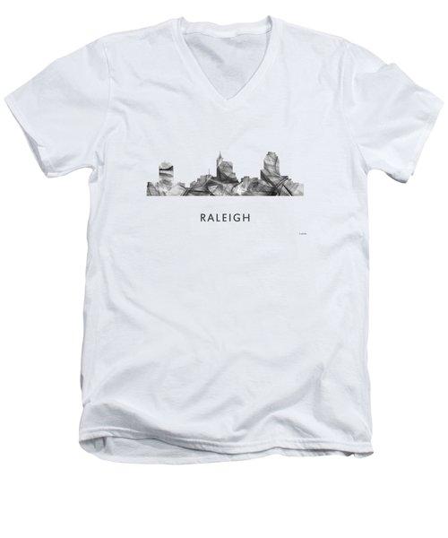 Raleigh North Carolina Skyline Men's V-Neck T-Shirt by Marlene Watson