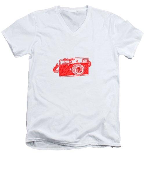 Men's V-Neck T-Shirt featuring the drawing Rangefinder Camera by Setsiri Silapasuwanchai