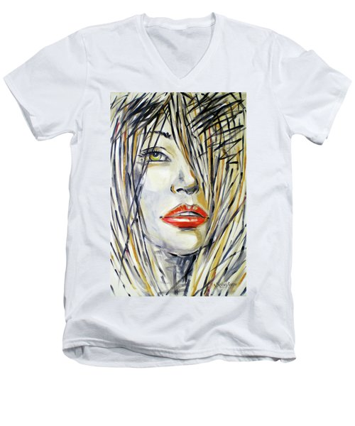 Men's V-Neck T-Shirt featuring the painting Red Lipstick 081208 by Selena Boron