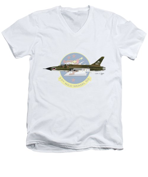Republic F-105g Wild Weasel 17ww Men's V-Neck T-Shirt by Arthur Eggers