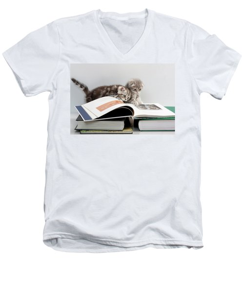 Men's V-Neck T-Shirt featuring the photograph Scottish Fold Cats by Evgeniy Lankin