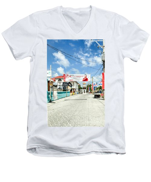 Men's V-Neck T-Shirt featuring the photograph Street Scene Of San Pedro by Lawrence Burry