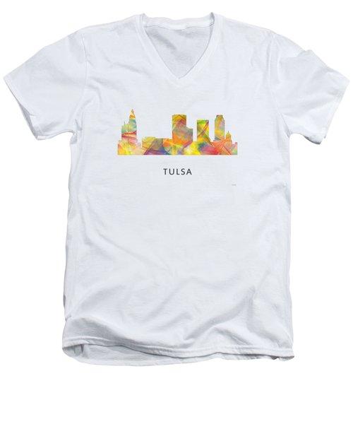Tulsa Oklahoma Skyline Men's V-Neck T-Shirt by Marlene Watson