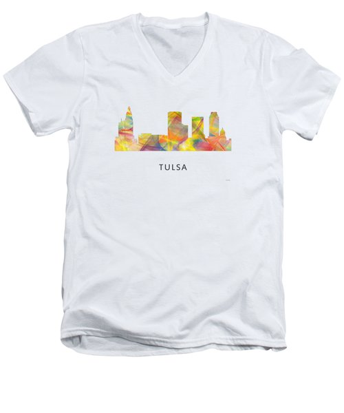 Tulsa Oklahoma Skyline Men's V-Neck T-Shirt
