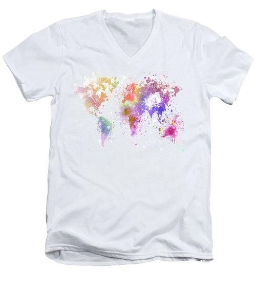 World Map Painting Men's V-Neck T-Shirt